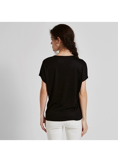 Vekem-Limited Edition Japone Kol V Yaka Basic Bluz Siyah